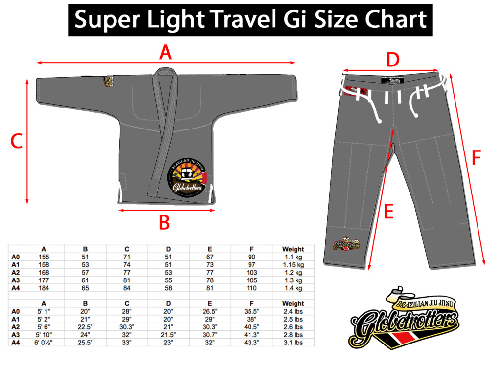 super light travel gi size chart
