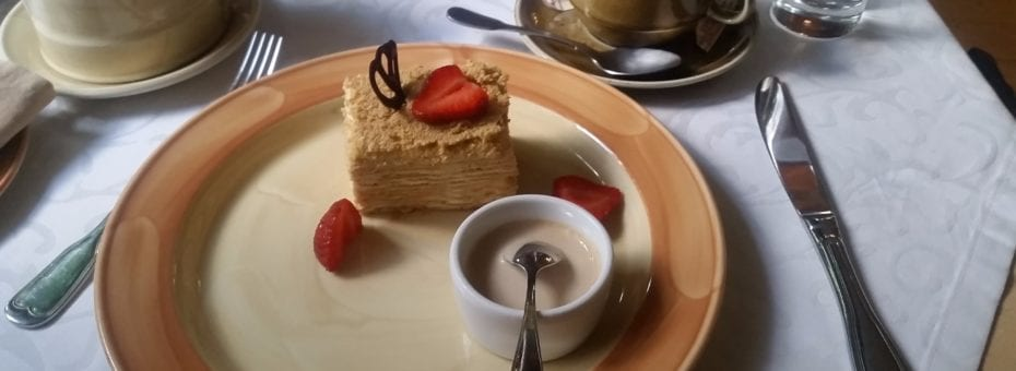 Medovik - honey cake with expresso and sour cream sauce.