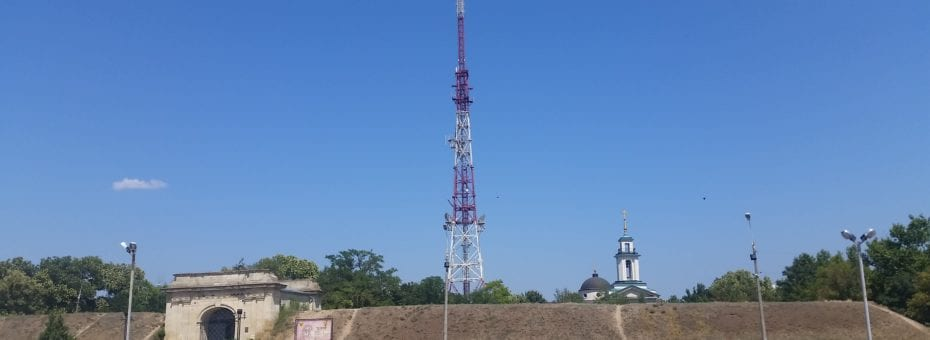 An old Soviet communications tower, forget what it's for now, probably cell phones.