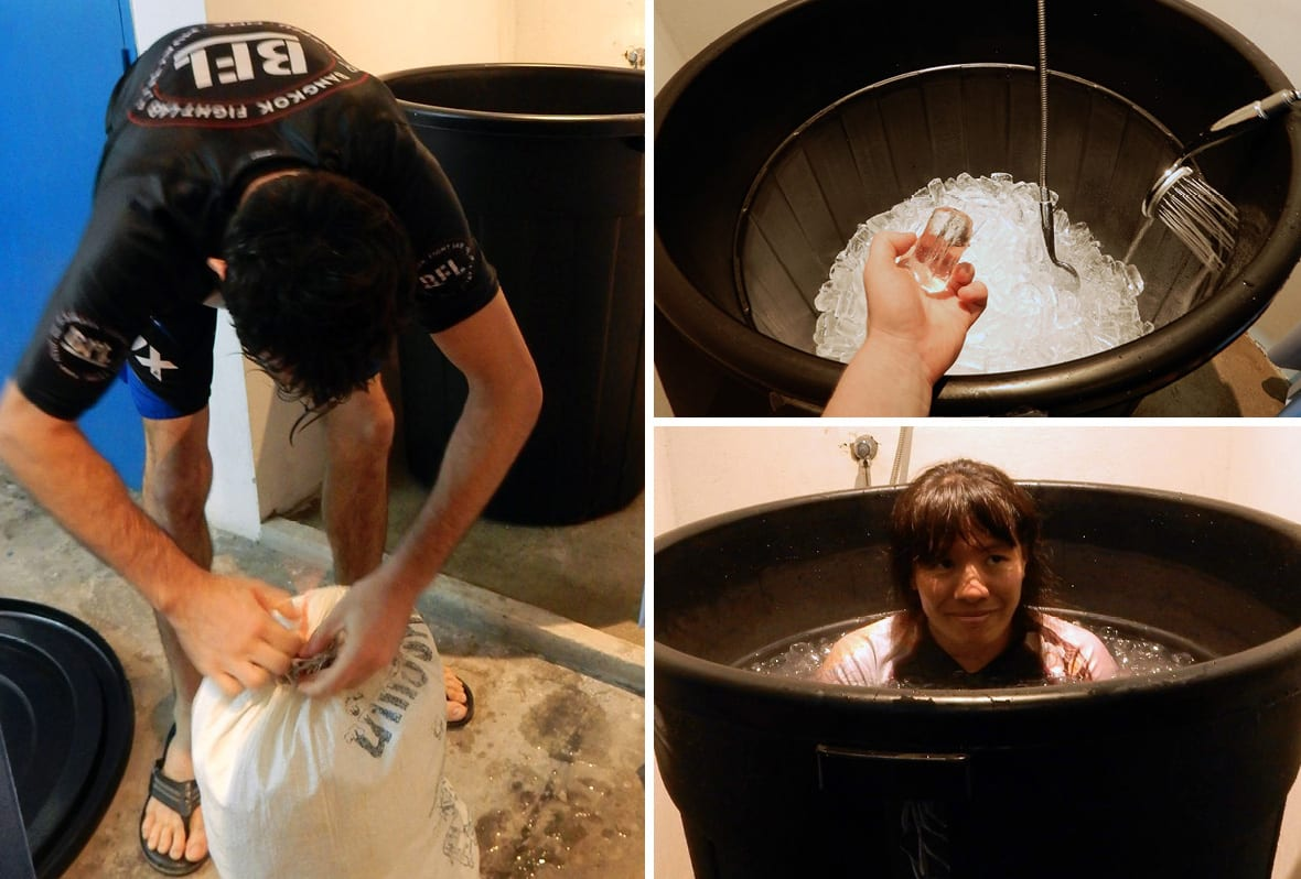Bangkok, Thailand: Bangkok Fight Lab ice bath! Morgan adding ice (left), filling up the bin (upper right), Vara enjoying her ice bath! (lower right)