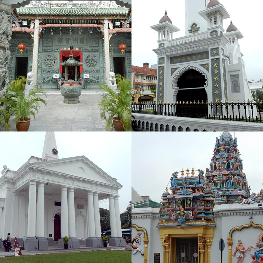 Penang, Malaysia: A Chinese, Muslim, Christian, and Hindu temple